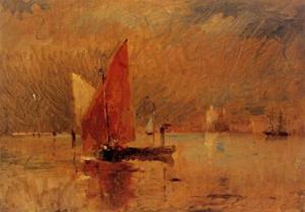 Red Sail in the Harbor at Venice 1884